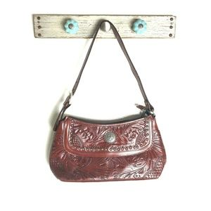 American West Hand Tooled Red Leather Handbag